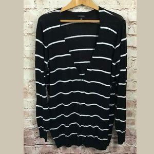 Torrid Black White Stripe Cardigan Sweater 2X